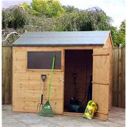 INSTALLED 6ft x 8ft Tongue And Groove Reverse Apex Shed With Single Door + 1 Window (10mm Solid OSB Floor) - INCLUDES INSTALLATION