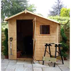 INSTALLED 7ft x 7ft Tongue & Groove Offset Apex Shed With single Door + 1 Window (10mm Solid OSB Floor) - INCLUDES INSTALLATION