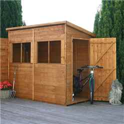INSTALLED 8ft x 4ft Pent Premier Tongue & Groove Apex Shed With Single Door + 4 Windows (12mm T&G Floor) - INCLUDES INSTALLED