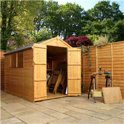 INSTALLED 8ft x 6ft Tongue & Groove Apex Shed With Double Doors + 2 Windows (solid 10mm OSB Floor) - INCLUDES INSTALLATION