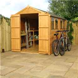 INSTALLED 10ft x 6ft Tongue & Groove Apex Shed With Double Doors + 4 Windows (10mm Solid OSB Floor) - INCLUDES INSTALLATION