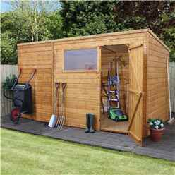 INSTALLED 12ft x 8ft (3.64m x 2.40m) Tongue & Groove Pent Shed With Single Door + 1 Window (10mm Solid OSB Floor) - INCLUDES INSTALLATION