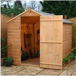 INSTALLED 8ft x 6ft Tongue & Groove Single Door Apex Windowless Shed With Single Door (Solid 10mm OSB Floor) - INCLUDES INSTALLATION