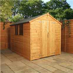 INSTALLED 8ft x 8ft (2.49m x 2.41m) Tongue & Groove Apex Shed With Double Doors + 2 Windows (solid 10mm OSB Floor) - INCLUDES INSTALLATION