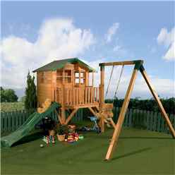 INSTALLED Tulip Tower Playhouse, Slide & Swing 5ft x 7ft - INCLUDES INSTALLATION