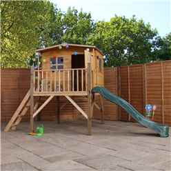 INSTALLED 13ft x 7ft Tongue & Groove Tower Playhouse With Overhang & Slide - INCLUDES INSTALLATION