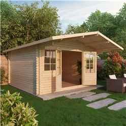 INSTALLED 5m x 5m CALIFORNIA Log Cabin (Single Glazing) + Free Floor & Felt & Safety Glass (34mm) - INCLUDES INSTALLATION
