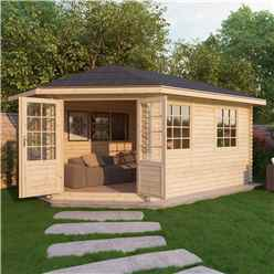 INSTALLED 5m x 3m KANSAS Corner Log Cabin (Single Glazing) + Free Floor & Felt & Safety Glass (28mm) - Left Door - INCLUDES INSTALLATION