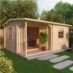 INSTALLED 4m x 3m CHESTNUT Log Cabin (Double Glazing) + Free Floor & Felt & Safety Glass (34mm) - INCLUDES INSTALLATION