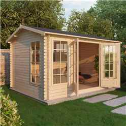 INSTALLED 4m x 3m Vermont Log Cabin (Single Glazing) + Free Floor & Felt & Safety Glass (34mm) - INCLUDES INSTALLATION