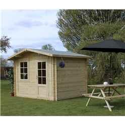 INSTALLED 3m x 2.4m BLOSSOM Log Cabin (Single Glazing) + Free Floor & Felt & Safety Glass (34mm) - INCLUDES INSTALLATION