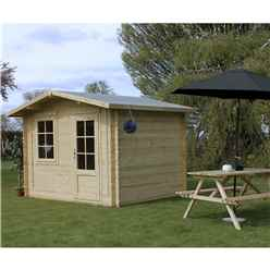 INSTALLED 3m x 2.4m BLOSSOM Log Cabin (Single Glazing) + Free Floor & Felt & Safety Glass (44mm) - INCLUDES INSTALLATION
