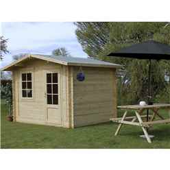 INSTALLED 3m x 2.4m BLOSSOM Log Cabin (Double Glazing) + Free Floor & Felt & Safety Glass (44mm) - INCLUDES INSTALLATION