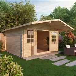 INSTALLED 4m x 4m CALIFORNIA Log Cabin (Double Glazing) + Free Floor & Felt & Safety Glass (44mm) - INCLUDES INSTALLATION