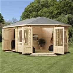 INSTALLED 5m x 3m OHIO Corner Log Cabin (Double Glazing) + Free Floor & Felt & Safety Glass (34mm) ***RIGHT - INCLUDES INSTALLATION
