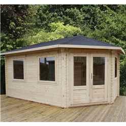 INSTALLED 5m x 3m KANSAS Corner Log Cabin (Single Glazing) + Free Floor & Felt & Safety Glass (34mm) - Right Door - INCLUDES INSTALLATION