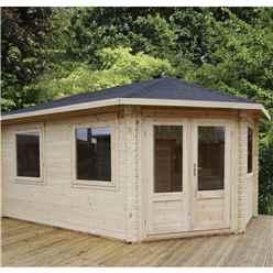 INSTALLED 5m x 3m KANSAS Corner Log Cabin (Double Glazing) + Free Floor & Felt & Safety Glass (34mm) - Right Door - INCLUDES INSTALLATION