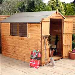 INSTALLED OXFORD: 8ft x 6ft Buckingham Overlap Apex Shed With Double Doors + 2 Windows (solid 10mm OSB Floor) - INCLUDES INSTALLATION
