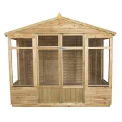 INSTALLED 8ft x 6ft Oakley Pressure Treated Overlap Summerhouse (258cm x 193cm) - INSTALLATION INCLUDED (CORE)