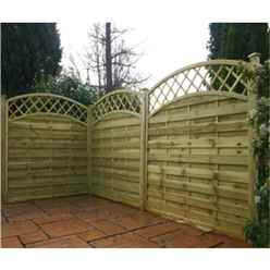 6FT Pressure Treated Convex Horizontal Weave + Trellis - 1 Panel Only (Min Order 3 Panels) + Free Delivery*