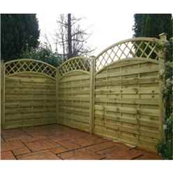 **PRE ORDER DUE BACK IN 17/04**  4FT Pressure Treated Convex Horizontal Weave + Trellis - 1 Panel Only (Min Order 3 Panels) + Free Delivery*
