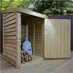 INSTALLED 3 x 3 (1m x 1m) Pressure Treated Overlap Storage Unit With Single Door (3'3 x 3'3) INCLUDES INSTALLATION