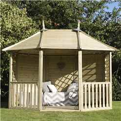 "8' 8"" x 11' 9 Pressure Treated Double Trellis Gazebo  (2.6m x 3.5m)"