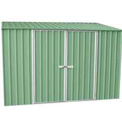 **PRE-ORDER: DUE BACK IN STOCK 1ST JULY**INSTALLED 10ft x 5ft Space Saver Pale Eucalyptus Metal Shed (3m x 1.52m) INCLUDES INSTALLATION