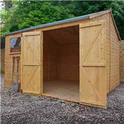 10ft x 10ft Premium Reverse Apex Workshop With Double Doors and 1 Opening Window (12mm Tongue and Groove Floor and Roof)