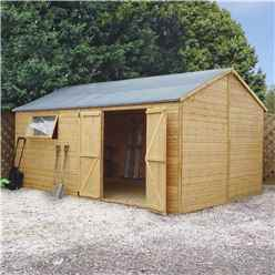 10ft x 16ft Premium Reverse Apex Workshop With Double Doors and 1 Opening Window (12mm Tongue and Groove Floor and Roof)