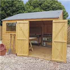 10ft x 12ft Premium Reverse Apex Workshop With Double Doors and 1 Opening Window (12mm Tongue and Groove Floor and Roof)