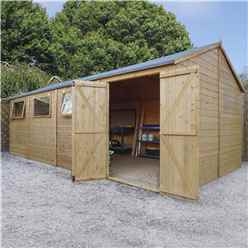10ft x 20ft Premium Reverse Apex Workshop With Double Doors and 3 Opening Windows (12mm Tongue and Groove Floor and Roof)