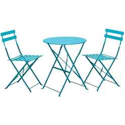 2 Seater Blue Folding Padstow Bistro Set - Free Next Working Day Delivery (Mon-Fri)