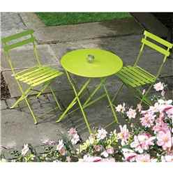 2 Seater Green Folding Padstow Bistro Set - Free Next Working Day Delivery (Mon-Fri)