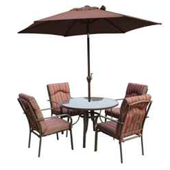 4 Seater Amalfi STRIPE Round Set with Parasol - 105cm Table with 4 Chairs - Brown-Burgundy Stripe cushions and 2.4m Parasol - Free Next Working Day Delivery (Mon-Fri)