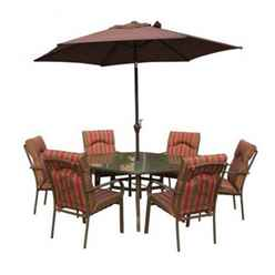 6 Seater Amalfi STRIPE Hexagonal Set with Parasol- 137 x 153cm Table with 6 Chairs - Burgundy Stripe cushions and 2.7m Parasol - Free Next Working Day Delivery (Mon-Fri)