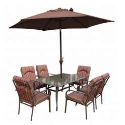 6 Seater Amalfi STRIPE Rectangular Set with Parasol - 152 x 96cm Table with 6 Chairs - Burgundy Stripe cushions and 2.7m Parasol - Free Next Working Day Delivery (Mon-Fri)