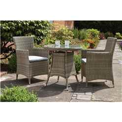2 Seater Wentworth Bistro Set - 70cm Round Table with 2 Carver chairs Incl cushions - Free Next Working Day Delivery (Mon-Fri)