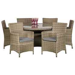 6 Seater Wentworth Round Carver Dining Set - 140cm Table with 6 Carver Chairs incl cushions - Free Next Working Day Delivery (Mon-Fri)