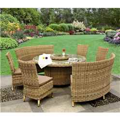 8 Seater Wentworth Fan Bench Set - 140cm Round Table with Lazy Susan and 4 Fan Benches incl. cushions - Free Next Working Day Delivery (Mon-Fri)