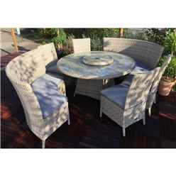 8 Seater Wentworth Fan Bench Set - 140cm Round Table with Lazy Susan with 4 x Side Dining Chairs and  2 x Fan Benches incl. cushions - Free Next Working Day Delivery (Mon-Fri)