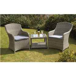 2 Seater Wentworth Imperial Companion Set - Side/Lamp Table 60 x 60 x 45cm with 2 Imperial Chairs incl. cushion - Free Next Working Day Delivery (Mon-Fri)