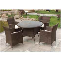 4 Seater Mocha Brown Dining Set - Free Next Working Day Delivery (Mon-Fri)