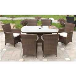 6 Seater Mocha Brown Rectangular Dining Set - Free Next Working Day Delivery (Mon-Fri)