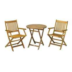 2 Seater York Bistro Set with Round Table and 2 Manhattan Folding Chairs - Free Next Working Day Delivery (Mon-Fri)