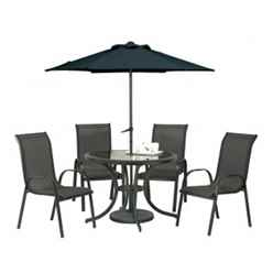 4 Seater Set Black Cayman with FREE Parasol - Free Next Working Day Delivery (Mon-Fri)