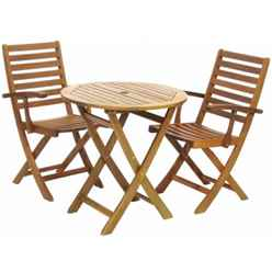 2 Seater York Bistro Set with Round Table and 2 Manhattan Folding Armchairs - Free Next Working Day Delivery (Mon-Fri)
