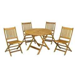 4 Seater Manhattan Dining Set with 4 Folding Chairs + Table - Free Next Working Day Delivery (Mon-Fri)