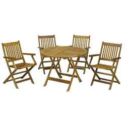 4 Seater Manhattan Dining Set with 4 Folding Armchairs + Table - Free Next Working Day Delivery (Mon-Fri)