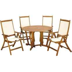 4 Seater Henley Gateleg Dining Set with 4 Henley Recliner Armchairs - Free Next Working Day Delivery (Mon-Fri)